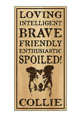 Wood Dog Breed Personality Sign - Spoiled Collie - Home, Office, Gift