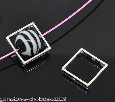 Wholesale Lots Silver Plated Square Bead Frames 20x20mm