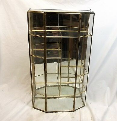 Vtg Brass Glass Table Top Wall Curio Cabinet Display Shelf Case Mirror Back Big