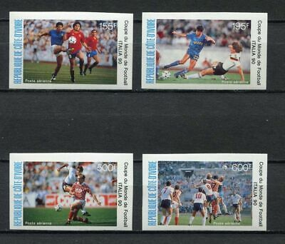 s6276) IVORY COAST 1990 MNH** WC Football'90-CM Calcio 4v IMPERF