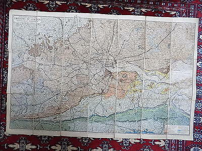 1884? Geological Map Environs London Old Antique Geology Reynolds Handcoloured
