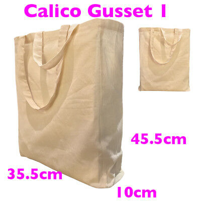 Calico Bags Shopping Bag Calico Bag Gusset 10cm H35.5 x W35.5 Style1: 1-200 bags
