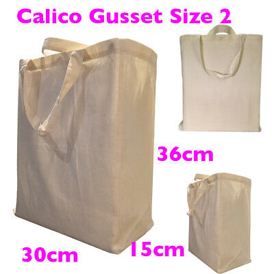 Gusset Calico Bag Shopping Bag Calico Bag 15cm H36cm x W30cm Style 2, 1-200 Bag
