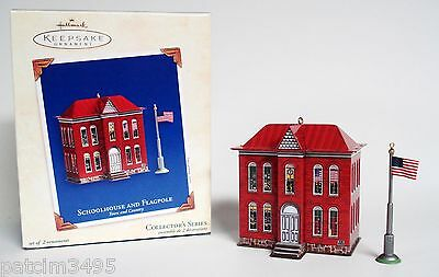 Hallmark Town & Country 2003 School House & Flag Pole Pressed Tin Ornament