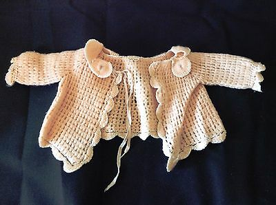 Vintage Baby Delicate Scalloped Edges Hand Sewn Sweater Pink Embroidered Flowers