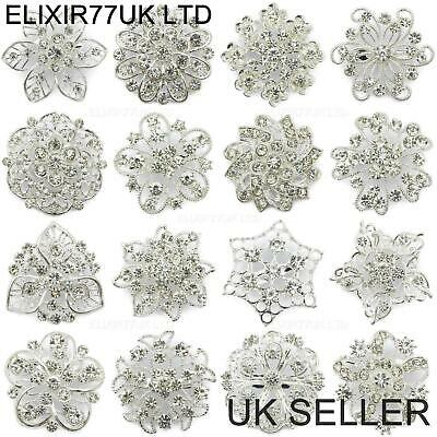 Job Lot Silver Diamante Flower Pin Brooch Wedding Bouquet Bridal Ladies Broaches
