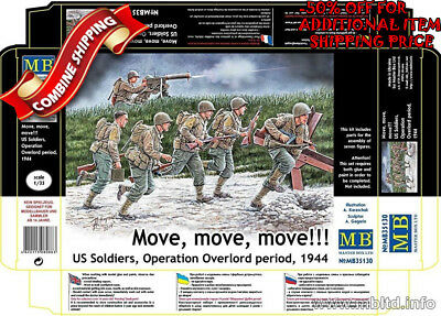 Master Box 35130 Move,Move! WWII US Soldiers Operation Overlord Period 1944 1/35