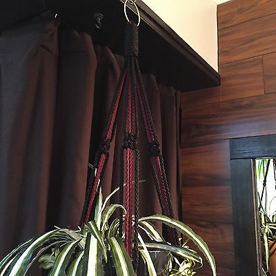 "MACRAME PLANT HANGER  Black and Burgundy  35"" 40"" 50"" 60"""