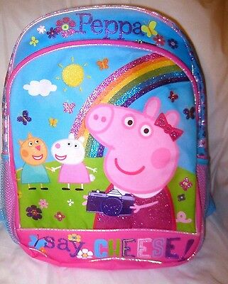 """Peppa Pig + Pals 14"""" say Cheese with Rainbow Backpack with Adjustable Straps-New"""
