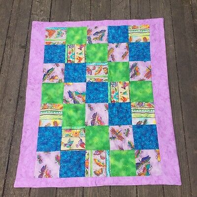Little Girl Quilt Baby Butterfly Dragonfly Purple Blue Pink Green