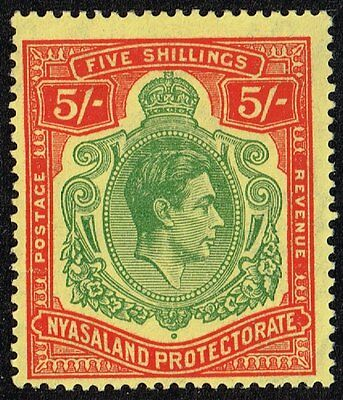 Nyasaland 1944 5s. green & red / pale yellow, MH (SG#141a)