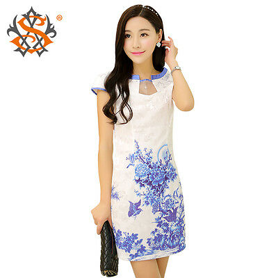 Retro multi-color Cheongsam attractive printed Chinese evening dress long Qipao