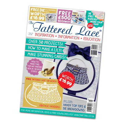 Tattered Lace Magazine Issue 29 + FREE VINTAGE HANDBAG DIE ***IN STOCK NOW***