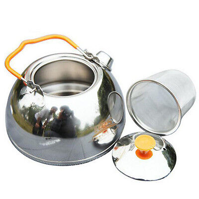 1.1 L Outdoor Campfire Kettle Teapot Camping Water Coffee Pot Stainless Steel