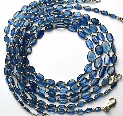 """Natural Gemstone Fine Quality Kyanite Smooth Nugget Beads Necklace 20"""""""