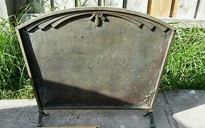 Vintage Art Deco brass fire place stand. Myttons Australia