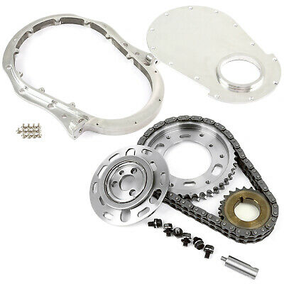 Chevy BBC 454 Double Roller 2pc Adj Billet Steel Timing Chain & Cover Kit