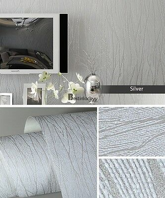10m Embossed 3D Flocking Wave Textured Wallpaper Bedroom Wall Decor Non-woven
