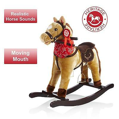 Heritage Childrens/Kids 68cm Cowboy Rocking Horse With Sounds & Moving Mouth