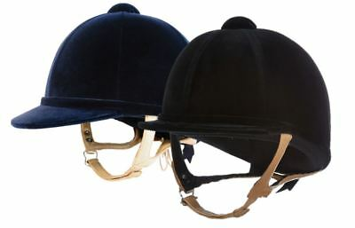 Charles Owen Showjumper XP Riding Helmet with Flesh Harness - Black or Navy