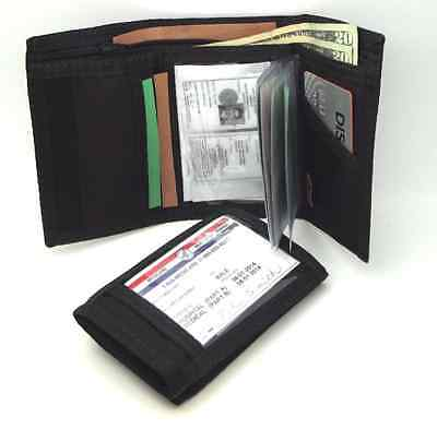 Mens Trifold ID Wallet with Outside & Inside ID. Hook & Loop Closure. Black. USA