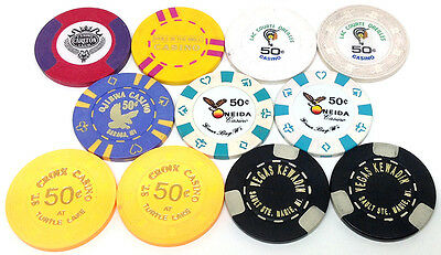 Eleven 50¢ Paulson Bud Jones Casino Chips From 7 Different Casinos Free Shipping