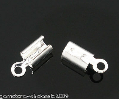 Wholesale Lots Silver Plated Necklace/Cord Crimp End Caps Tips W/Loop 8x3mm