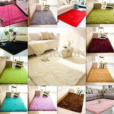 Shaggy Fluffy Carpet Area Rug Dining Room Home Bedroom Floor Mat Child Playmat