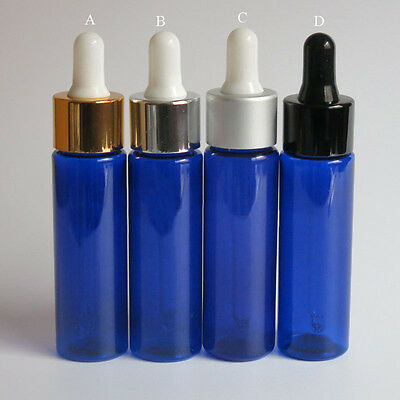 30 x 30ml Blue PET Plastic Dropper Bottle Aromatherapy Oil