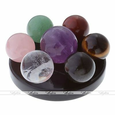 Natural 7 Healing Chakra Gemstone Ball Group Fengshui Seven-Star Array Plate Set