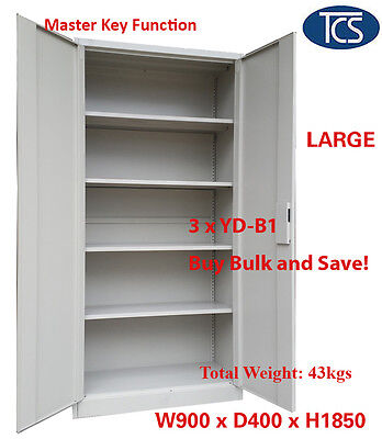 TCS 3 x NEW METAL STEEL LOCKER STATIONERY CABINET FILE CUPBOARD BULK BUY & SAVE