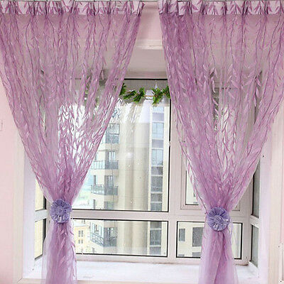 1pc Chic Door Window Curtain Floral Tulle Voile Drape Panel Sheer Scarf Valances