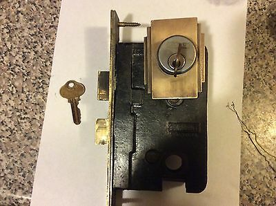 Vintage Sargent Art Deco Brass Entry Door mortis dead bolt lockset, no knobs,