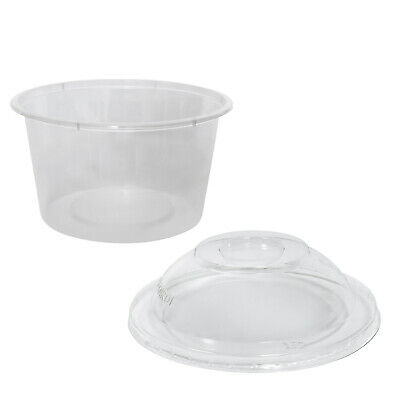 500x Clear Plastic Container with Dome Lid 450mL Round Disposable Rice Dish