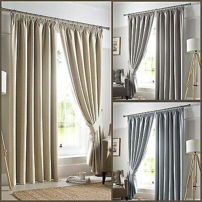 Pencil Pleat Blackout Ready Made Curtains Pair Fully Lined Grey Natural Blue