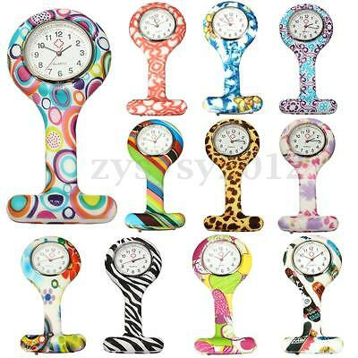 Flower Silicone Nurse Watch Brooch Tunic Fob Pocket Watch Doctor Medical Gift UK