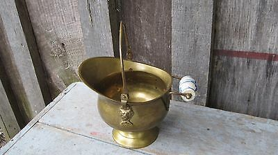 Petite Vintage Brass Coal Scuttle Planter Pot Antique Home & Garden Yard Art Bin