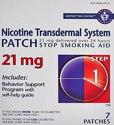 2 Pack - Habitrol® Step 1 Nicotine Patch Transdermal System 21mg 7 Patches Each
