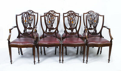 Antique Set 8 English Hepplewhite Dining Chairs c.1900