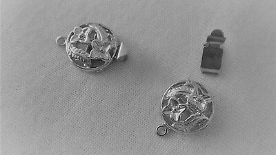 5 Silver Tone 1-1 Floral Box Clasps 19x12mm #3334