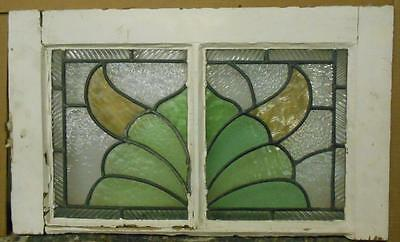 "MID SIZED OLD ENGLISH LEADED STAINED GLASS WINDOW Nice Abstract 26"" x 15.75"""