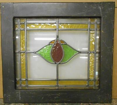 "OLD ENGLISH LEADED STAINED GLASS WINDOW Pretty Floral 20.75"" x 18.75"""