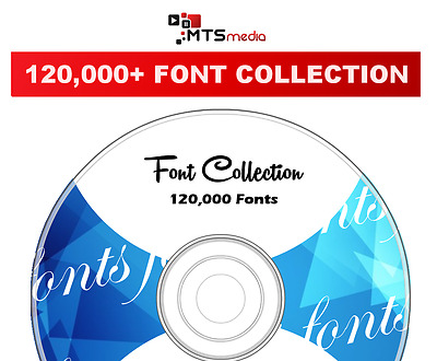 120,000 Fonts Collection DVD Media - Card Making - Web Design - Documents + More