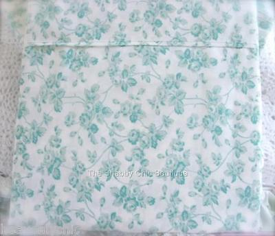 Shabby Cottage Roses Aqua Green Chic King Bed Quilt Cover Doona Duvet & Sham Set