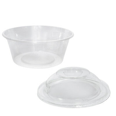 100x Clear Plastic Container w Dome Lid, 300mL, Round, 120x50mm, Take Away NEW