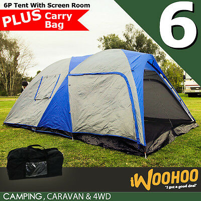 6 Person Camping Tent with Screen Room Water Resistant Rip Stop Double Layer