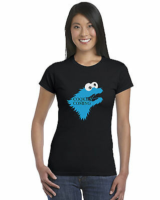 Game Of Thrones Cookie Monster Parody Ladies Fitted T-Shirt Stark Funny Winter