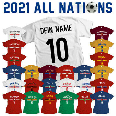 Fußball Fan WM Trikot - mit Name & Zahl 2018 T-Shirt Weltmeister all nations