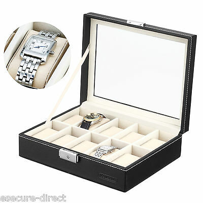 VonHaus Black Faux Leather Travel Jewellery Watch Display Box for 10 Watches