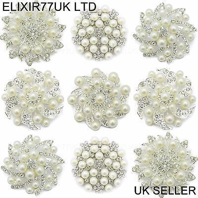 1 to 60 LARGE BROOCH JOB LOT PEARL DIAMANTE SILVER FLOWER WEDDING BOUQUET BRIDAL